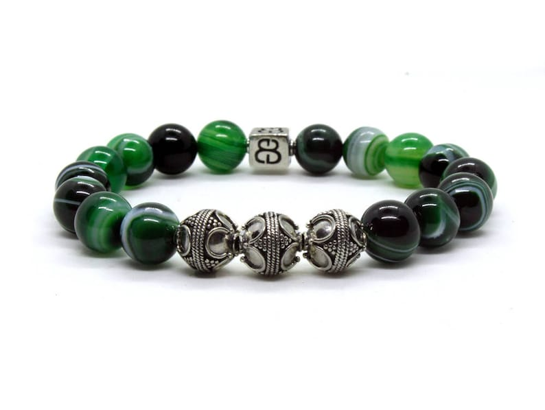 Men/'s Luxury Bracelet Green Striped Agate Bracelet Men/'s Bracelet Men/'s Silver Bracelet Men/'s Designer Bracelet