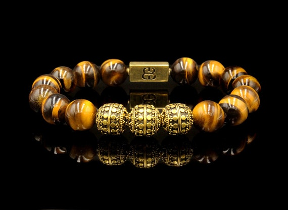 Beaded Bracelet Man Men/'s Red Tiger/'s Eye Bracelet Tiger/'s Eye Bracelet Men/'s Bracelet Bracelet Men Gold and Silver Bali Beads Bracelet