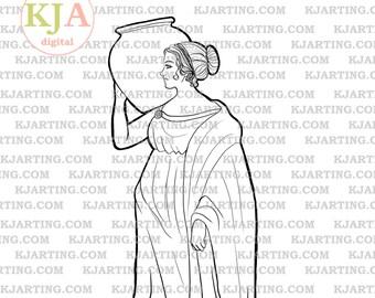Statue Digital Stamp (Line_Art Printable_00176 KJArting)