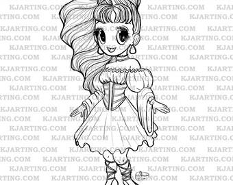 Fancy Chibi (Line_Art Printable_00224 KJArting)