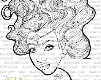 Mermaiden (Line_Art Printable_00281 KJArting)