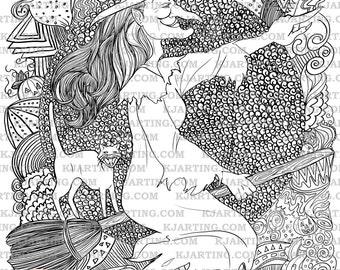 Zendoodle Spooky Halloween Witch Familiar Black Cat On Broomstick Coloring Page Line Art Printable 00183 ZEN4 KJArting