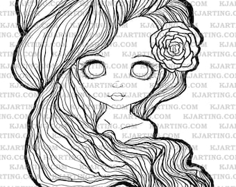 Dollface Rose Digital Stamp (Line_Art Printable_00119 KJArting)