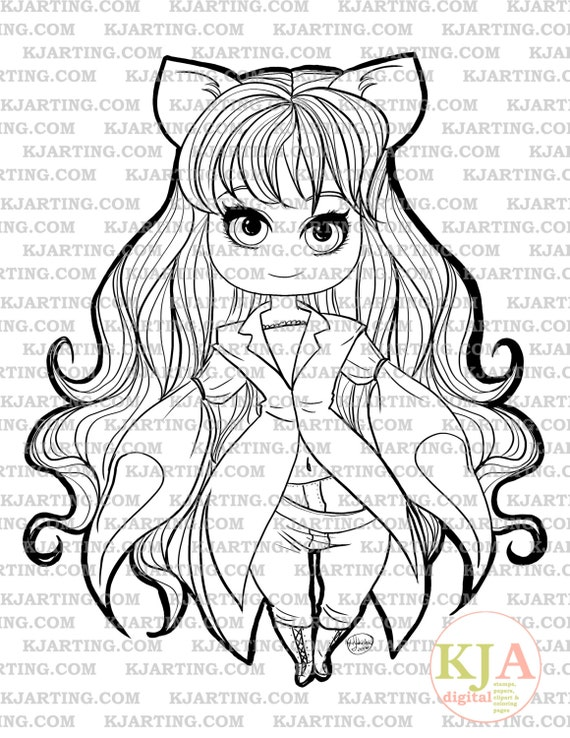 Feline Fashion Chibi Digi-Stamp Line/_Art Printable/_00111 KJArting