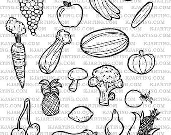 Vegetables Food Fruit Healthy Nutrition Corn Strawberry Apple Grapes Carrot Digital Stamp Set (Line_Art Printable_00006 KJArting)