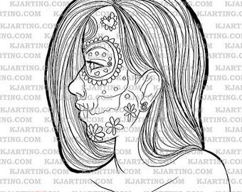 Sugar Skull Day of the Dead Dia De Los Muertos  Digital Stamp (Line_Art Printable_00020 KJArting)
