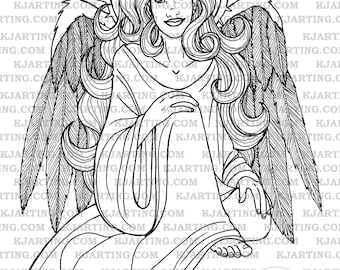 Angel Digital Stamp (Line_Art Printable_00042 KJArting)