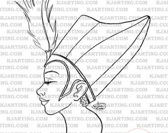 Egyptian Queen Digi-Stamp (Line_Art Printable_00088 KJArting)