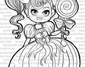 Lollipop Chibi Digi-Stamp (Line_Art Printable_00112 KJArting)