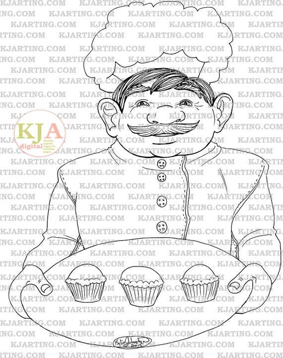 The Muffin Man Coloring Page Line Art Printable 00191 Etsy