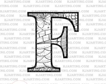 The Letter F (Line_Art Printable_00253 KJArting)