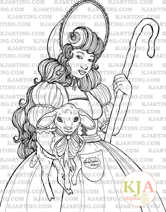 Little Bo Peep Coloring Page Line Art Printable 00178 Etsy