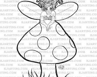 Fairy Shroom (Line_Art Printable_00222 KJArting)