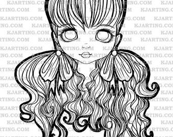 Dollface Bows Digital Stamp (Line_Art Printable_00120 KJArting)