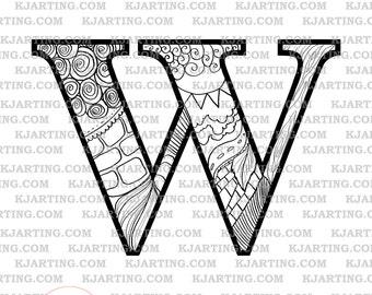 The Letter W (Line_Art Printable_00270 KJArting)