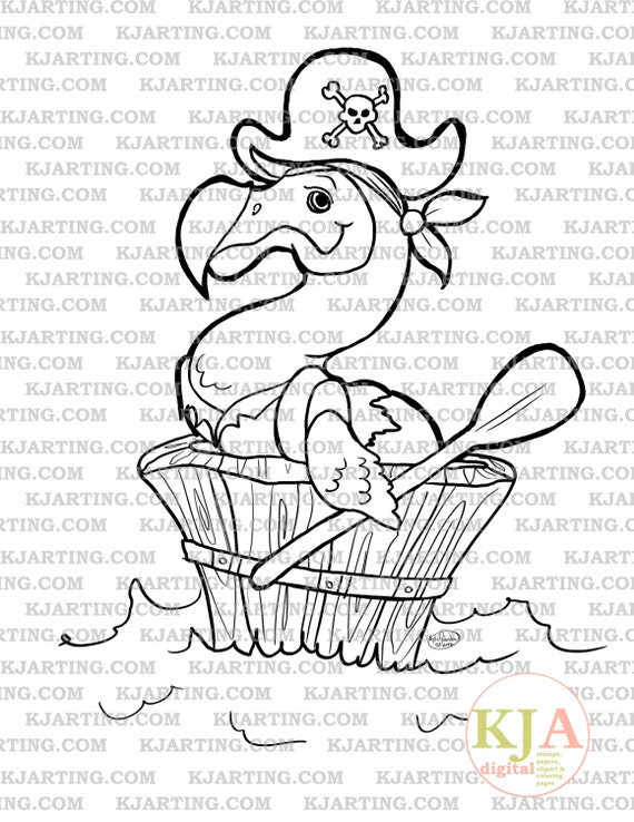 Pirate Dodo Digi Stamp Line Art Printable 00107 KJArting