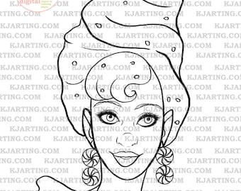 Candy Girl Digi-Stamp (Line_Art Printable_00087 KJArting)