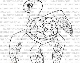 Turtle Digital Stamp (Line_Art Printable_00074 KJArting)
