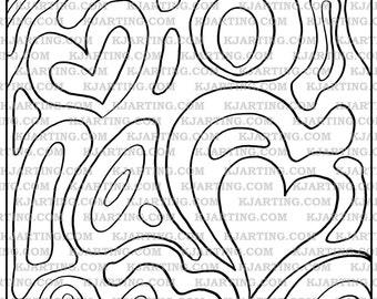 Heart Zendoodle (Line_Art Printable_00209 Zen14 KJArting)