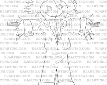 Scarecrow Digital Stamp (Line_Art Printable_00070 KJArting)