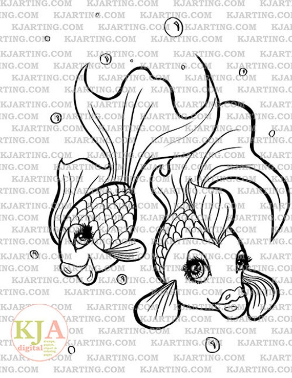 Pretty Fish Bubbles Friends Sea Life Digital Stamp Line_Art | Etsy