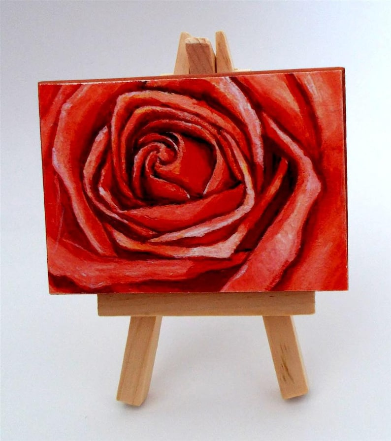 ACEO Print Hostess Gift ACEO Wood Block Coral Rose Small Painting Artist Trading Cards Miniature Art Gifts under 10 ACEO