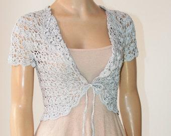 Silver gray crochet shrug/ Wedding bolero shrug//Bolero jacket/Lace shrug/Bridal shoulders cover/Bridesmaids Cover up Bolero