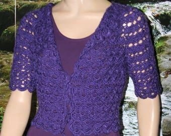 Violet Wedding Bolero, Purple Shrug, Bolero Jacket, Cotton Silk Crochet Shrug, Crochet Bolero, Crochet Shrug, Violet Shrug Bridal Bolero,