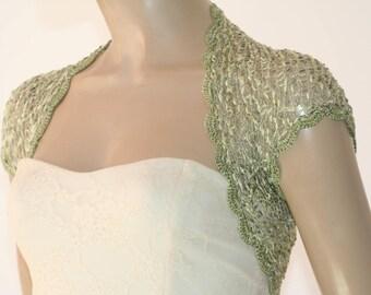 Green crochet shrug,  Wedding bolero shrug, Bolero jacket, Lace shrug, Bridal shoulders cover, Bridesmaids Cover up Bolero