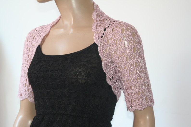 Dusty Pink Crochet Shrug Wedding Bolero Shrug Bolero Jacket Etsy
