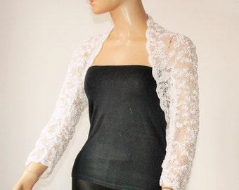 White knitted crochet shrug/ Wedding bolero shrug//Bolero jacket/Lace shrug/Bridal shoulders cover/Bridesmaids Cover up Bolero