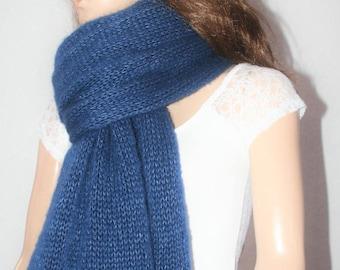 Blue Mohair Scarf, Blue Shawl, Mohair Wrap, Blue Silk Scarf, Mohair Scarf, Knitted Mohair Scarf, Mohair Shawl,