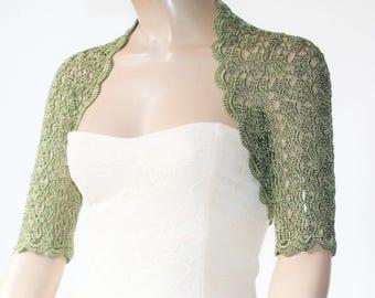 Green crochet shrug/ Wedding bolero shrug//Bolero jacket/Lace shrug/Bridal shoulders cover/Bridesmaids Cover up Bolero