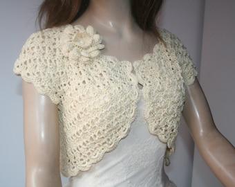 Cream White crochet shrug/ Wedding bolero shrug//Bolero jacket/Lace shrug/Bridal shoulders cover/Bridesmaids Cover up Bolero