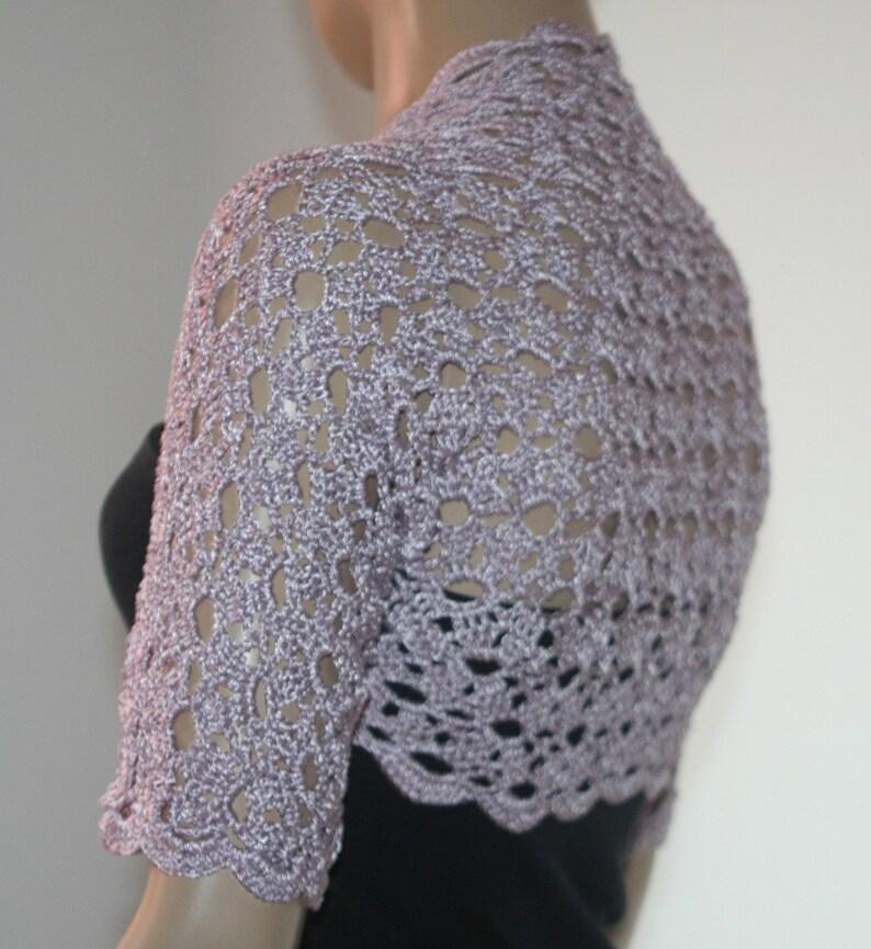 Wedding Bridal Bolero Shrug Lace Crochet Knit Shrug Boleros Lilac Silk