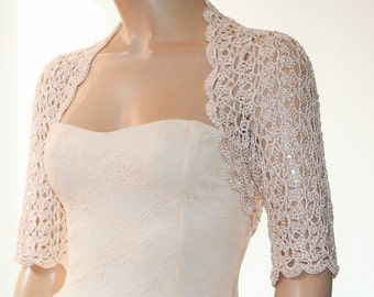 White/Beige/Ivory crochet shrug/ Wedding bolero shrug//Bolero jacket/Lace shrug/Bridal shoulders cover/Bridesmaids Cover up Bolero