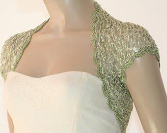 Green kntting crochet shrug/ Wedding bolero shrug//Bolero jacket/Lace shrug/Bridal shoulders cover/Bridesmaids Cover up Bolero