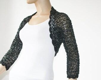Black kntting crochet shrug/ Wedding bolero shrug//Bolero jacket/Lace shrug/Bridal shoulders cover/Bridesmaids Cover up Bolero