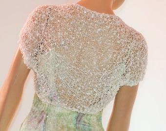 White silver crochet shrug/ Wedding bolero shrug//Bolero jacket/Lace shrug/Bridal shoulders cover/Bridesmaids Cover up Bolero