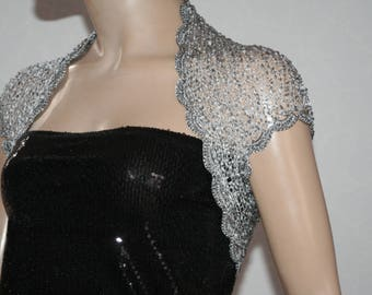 Gray silver knitted crochet shrug/ Wedding  shrug/Silver bolero/Bridal shoulders cover/Bridesmaids Cover up Bolero
