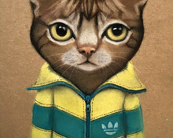 SACHA, portrait of a Tigray cat dressed in vintage tracksuit by Eva Fialka.