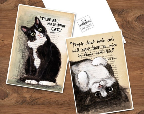 Set of 2 Quote Art Print - People that hate cats... & There are no ordinary cats