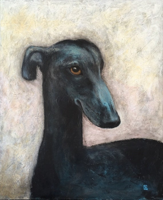 BLUE DOG, whippet portrait, original painting, by Eva Fialka