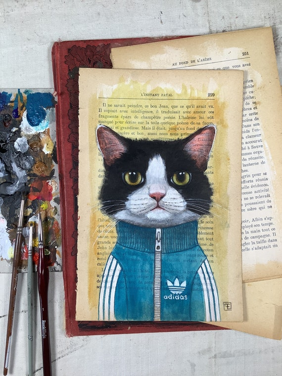 Marchal, portrait of a cat in tracksuit original watercolor painting on the page of an old book by Eva Fialka