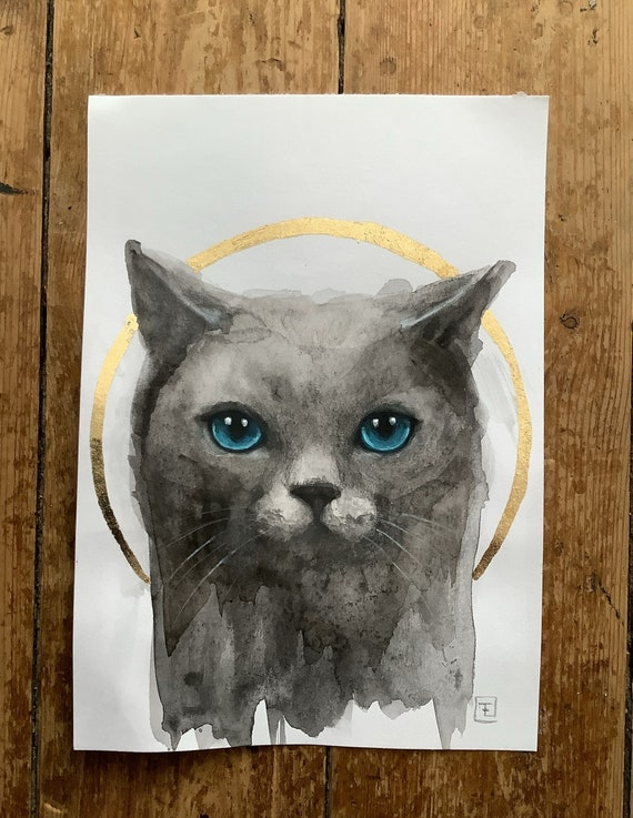 Blue-eyed cat, painting and original drawing on paper by Eva Fialka