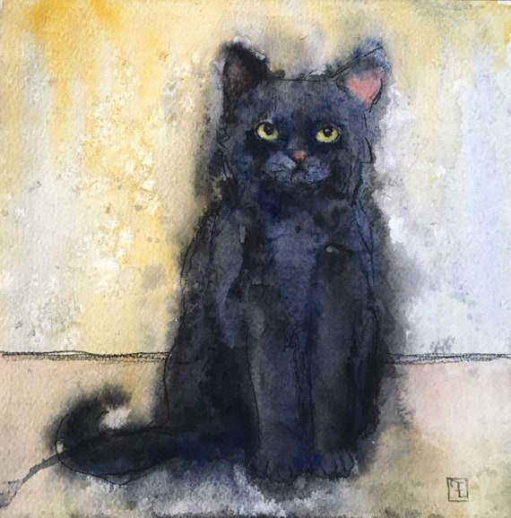 CHATON NOIR - original watercolor painting on paper, by Eva Fialka