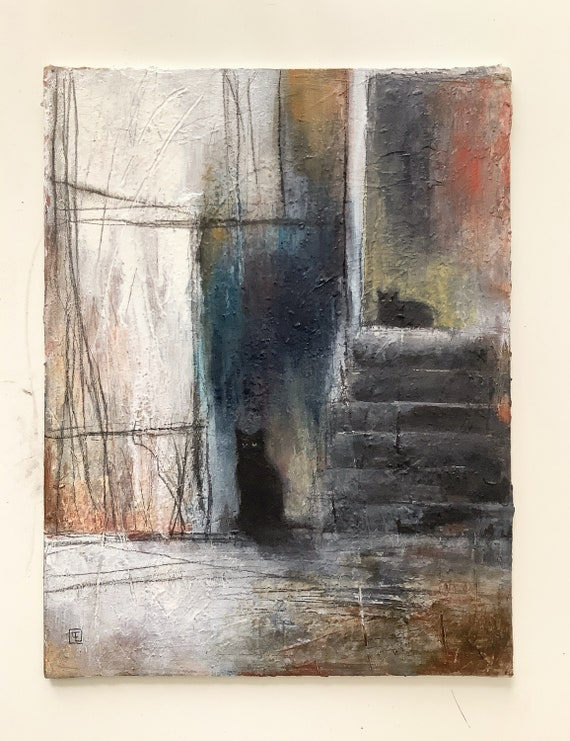 Black cats, Acrylic paint, abstract on cardboard coated Eva Fialka.
