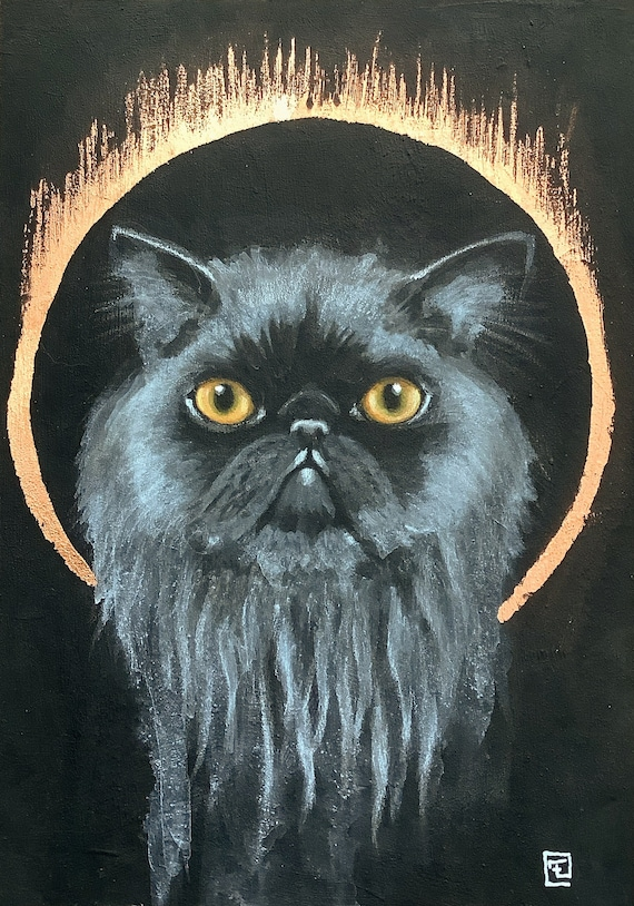 Cat, original painting on paper by Eva Fialka