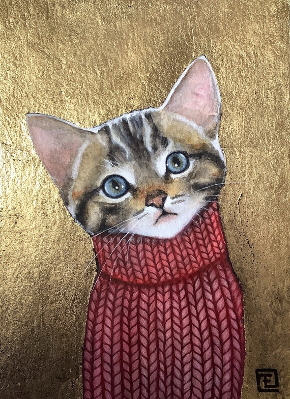 Kitten, tiger kitten portrait, watercolor and acrylic painting with gold leaf on very thick eva Fialka paper