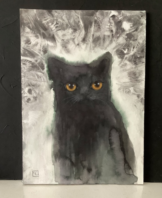 Dark cat, painting and original drawing on paper by Eva Fialka